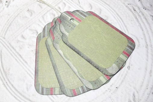 4pc Large Green Stripe Rustic Distressed Gift Tags