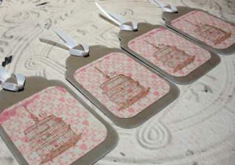 4pc Large Kraft Pink Hanging Birdcage Distressed Gift Tags with White Ribbon
