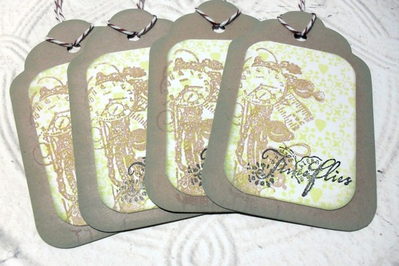 4pc Large Kraft Time Flies Distressed Gift Tags with Bakers Twine