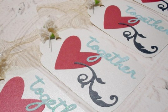 4pc Large Metallic Chic Heart Scroll Together Tags with Flowers
