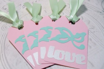 4pc Large Metallic Love Green and Pink Ribbon Tied Tags
