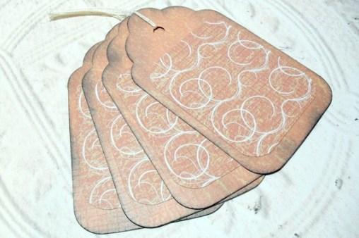 4pc Large Orange Swirl Rustic Distressed Gift Tags