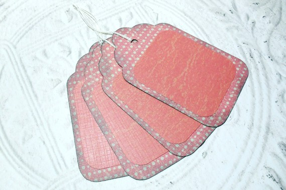 4pc Large Red Green Polka Dots Rustic Distressed Gift Tags
