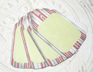 4pc Large White Red Stripe Rustic Distressed Gift Tags