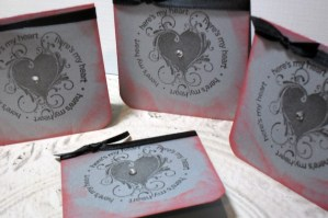 4pc Metallic Silver Distressed Here is My Heart Jeweled Ribbon Tied Cards - 3x3