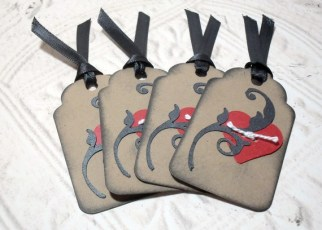 4pc Mini Heart Tied Kraft Paper Distressed Tags with Black Ribbon