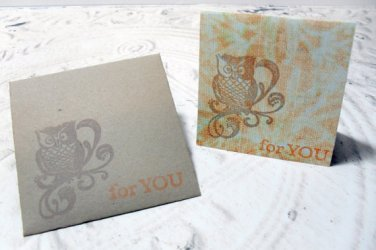 4pc Stamped Owl For You Mini Cards with Envelopes - 2x2