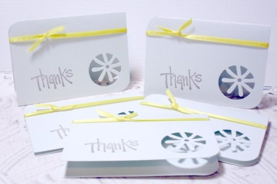 5 pc Thanks Flower Cut Pastel Green Yellow Tied Ribbon Mini Cards
