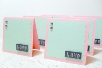 6 pc Pink Green Love Dimensional Jewel Scallop Mini Cards - 3 x 3