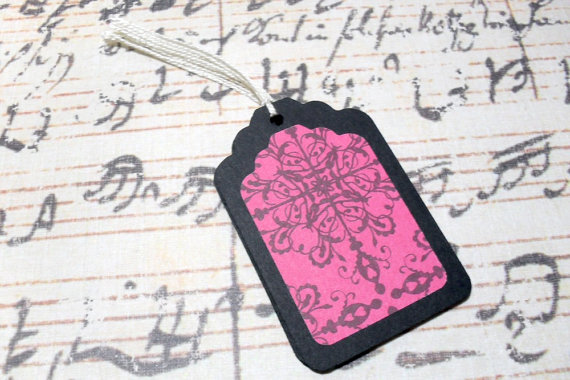 6pc Black and Pink Demask Flower Mini Tags