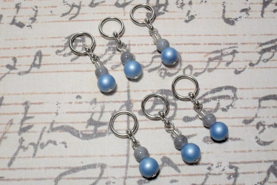 6pc Blue Glass Pearl Beaded Stitch Markers