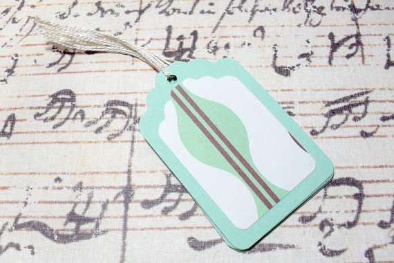 6pc Green and Brown Wave Pattern Mini Tags
