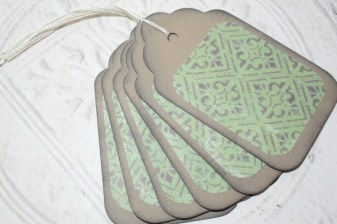 6pc Large Kraft Paper Green Victorian Distressed Gift Tags