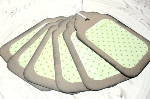 6pc Large Kraft Paper Lime Green Rustic Distressed Gift Tags