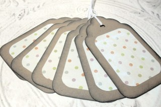 6pc Large Kraft Paper Peach Rustic Distressed Gift Tags