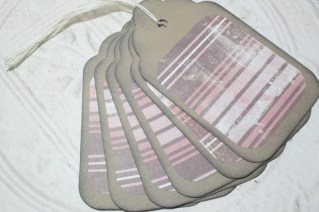 6pc Large Kraft Paper Pink Brown White Stripe Distressed Gift Tags