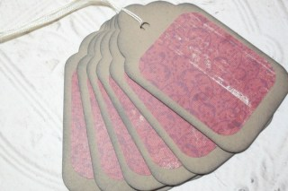 6pc Large Kraft Paper Red Swirl Floral Distressed Gift Tags