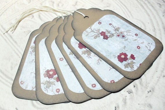 6pc Large Kraft Paper White Red Rustic Flower Distressed Gift Tags