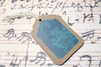 6pc Victorian Blue Mini Kraft Paper Tags