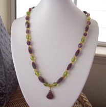 Amethyst arrow head beaded necklace