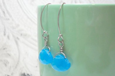 Aqua Blue Wide Briolette Wire Wrapped Drop Earrings
