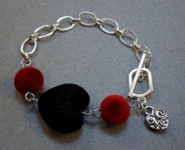 Black Heart of Velvet Chained Bracelet