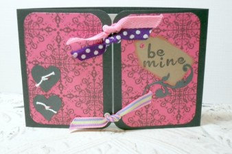 Black Pink Be Mine Love Theme Gate Opening Ribbon Tied Card - 4 x 6 Envelope Included