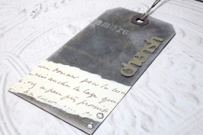 Cherish Amore Distressed Altered Luggage Style Tag