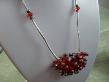 Cluster of Love Red Bicone and Silver Tube Necklace