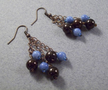 Copper brown and blue dangle chain earrings