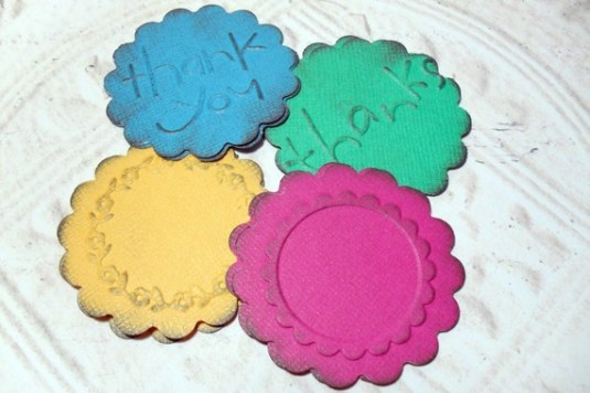 Distressed Embossed Scalloped Circle Embellishment