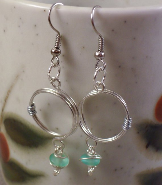 Handcrafted Wire Wrapped Circle Beaded Earrings