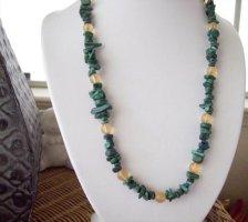 Malachite and Orange Beaded Necklace