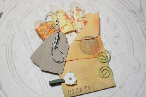 Orange Embellish Pack - 3 Yards of Ribbon Kraft Tags Bakers Twine Spiral Clips Mini Clothes Pin Set