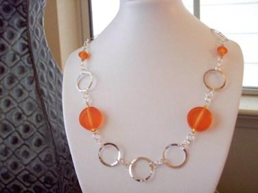 Orange Round Acrylic Chained Necklace