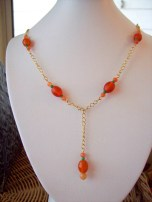 Orange and Gold Chained Y Style Necklace