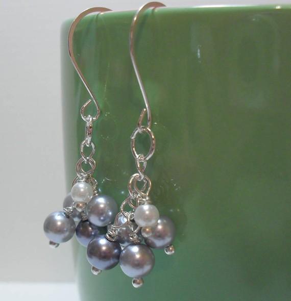 Pearl Cluster Drop Dangle Earrings