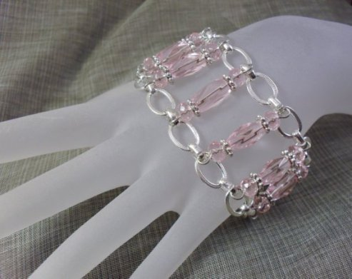 Pink Parade Glass Chained Bracelet