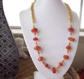 Red Agate Gold Chain Necklace
