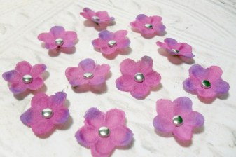 Set of 12 Purple Artificial Silk Flower Brad Centered Craft Embellishment