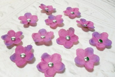 Set of 12 Purple Artificial Silk Flower Brad Centered Craft Embellishment