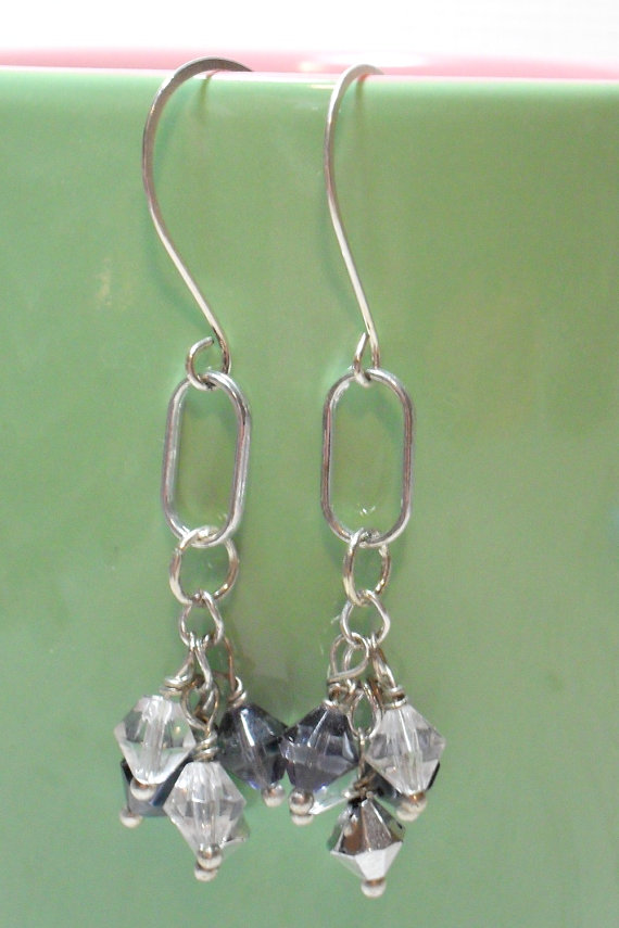 Shadows of the Night Hanging Bicone Dangle Earrings
