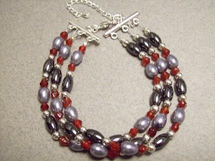 Three Strand Hematite Glass Pearl Bracelet