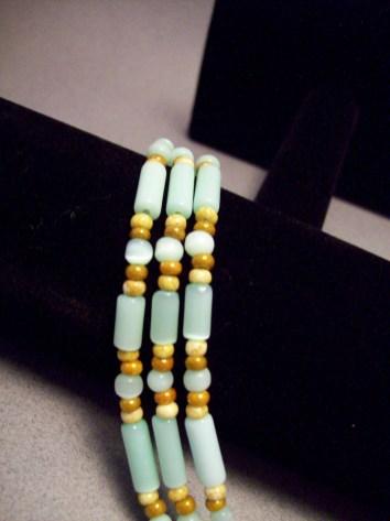 Three strand green cat eye bracelet