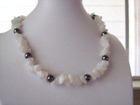 White Glass Chips and Hematite Beaded Necklace