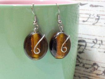 Wire Wrapped Amber Glass Beaded Earrings