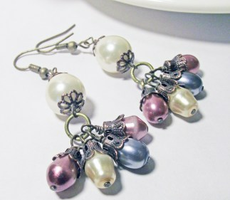 Wire Wrapped White Pearl with Hanging Dangles Laying