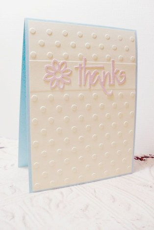 Yellow Pink Flower Thanks Polka Dot Embossed Card - Envelope Included