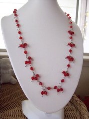red linked necklace