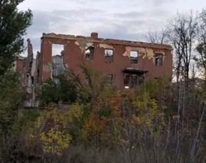 The remains of a hospital building outside Slavyansk